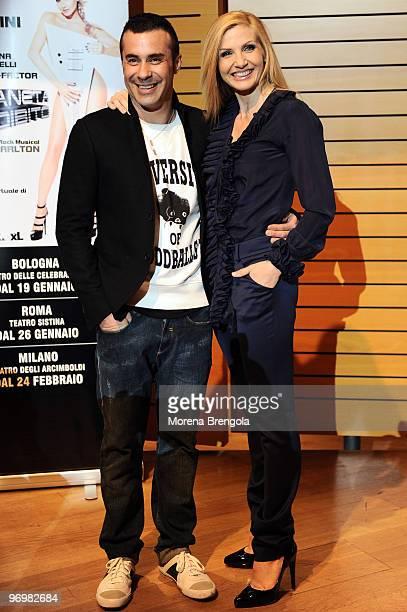 Luca Tommassini and Lorella Cuccarini attend 'Il Pianeta Proibito' musical theatre photocall on February 23 2010 in Milan Italy