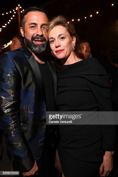 Luca Tommassini and Milena Mancini attend Dsquared2 Dinner Party on May 30 2016 in Rome Italy