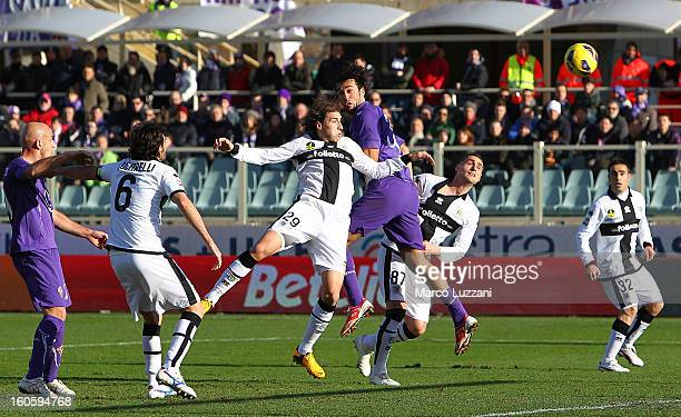 Luca Toni of ACF Fiorentina scores the opening goal during the Serie A match between ACF Fiorentina and Parma FC at Stadio Artemio Franchi on...