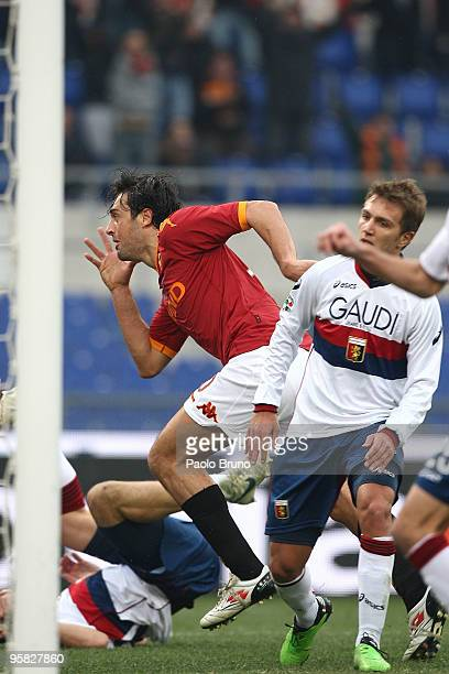 Luca Toni of AS Roma celebrates the third goal during the Serie A match between Roma and Genoa at Stadio Olimpico on January 17 2010 in Rome Italy