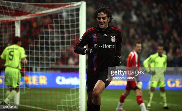 Luca Toni of Bayern celebrates after scoring 10 during the UEFA Cup Group F match between Bayern Munich and Aris Saloniki at the Allianz Arena on...