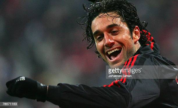Luca Toni of Bayern celebrates after scoring 30 during the UEFA Cup Group F match between Bayern Munich and Aris Saloniki at the Allianz Arena on...