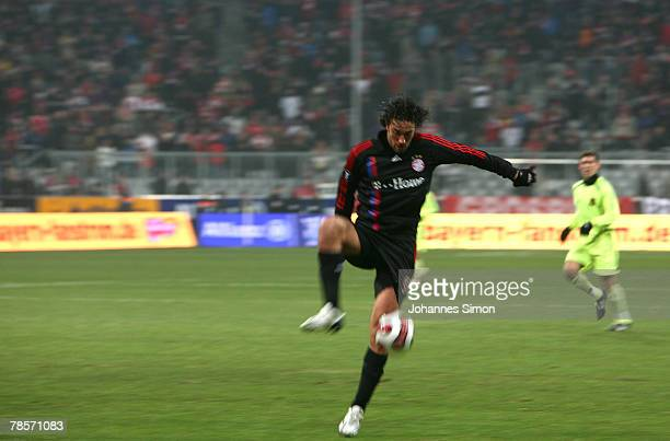 Luca Toni of Bayern in action during the UEFA Cup Group F match between Bayern Munich and Aris Saloniki at the Allianz Arena on December 19 2007 in...