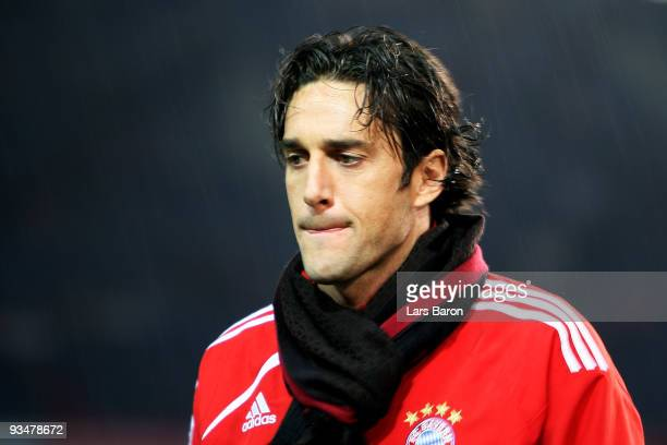 Luca Toni of Bayern looks on prior to the Bundesliga match between Hannover 96 and FC Bayern Muenchen at AWDArena on November 29 2009 in Hanover...