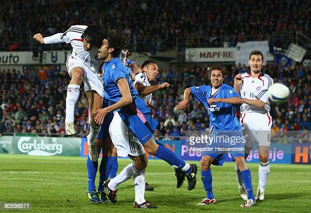 Luca Toni of Bayern Munich in action during the UEFA Cup quarter final second leg match between CF Getafe and Bayern Munich at the Coliseum Alfonso...