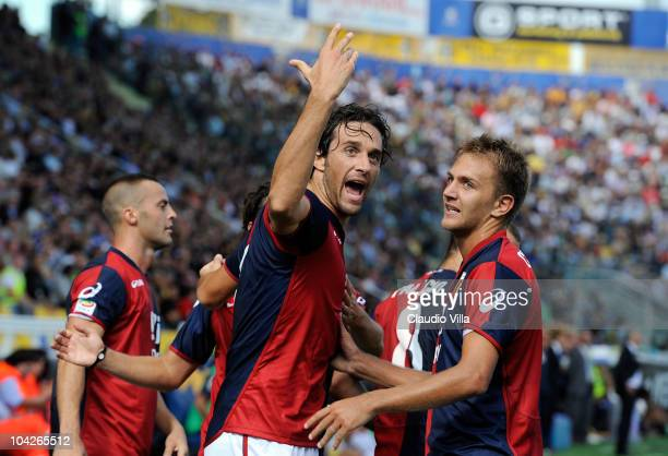 Luca Toni of Genoa CFC celebrates scoring during the Serie A match between Parma and Genoa at Stadio Ennio Tardini on September 19 2010 in Parma Italy