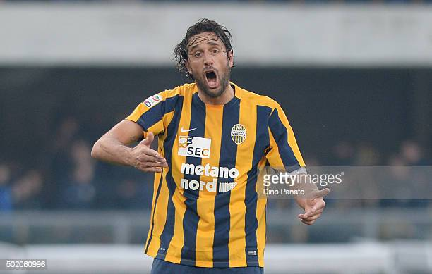 Luca Toni of Hellas Verona reacts during the Serie A match between Hellas Verona FC and US Sassuolo Calcio at Stadio Marc'Antonio Bentegodi on...