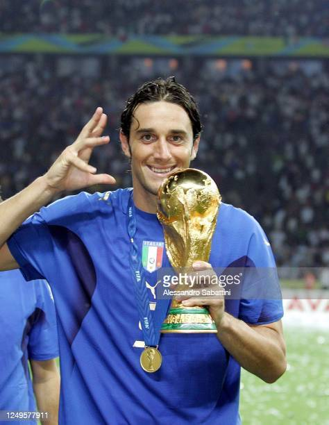 Luca Toni of Italy celebrates after the World Cup 2006 final football game Italy vs France, 09 July 2006 at Berlin stadium. Italy won the 2006...