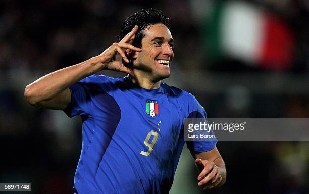 Luca Toni of Italy celebrates scoring the second goal during the international friendly match between Italy and Germany at the Artemio Franchi...