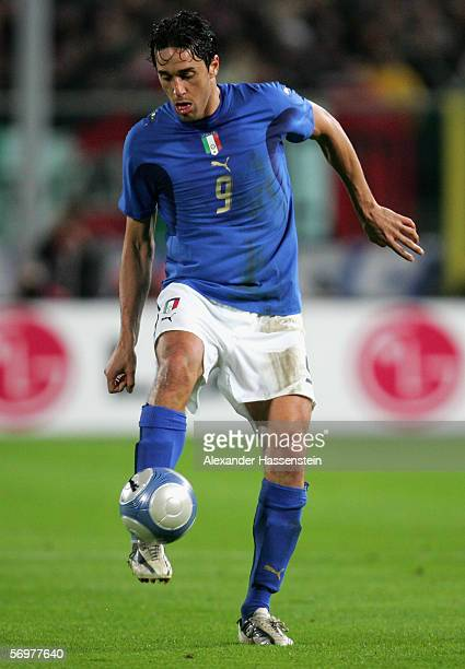 Luca Toni of Italy controls the ball during the international friendly match between Italy and Germany at the Artemio Franchi Stadium on March 1,...