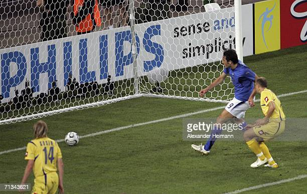 Luca Toni of Italy scores his team's third goal during the FIFA World Cup Germany 2006 Quarterfinal match between Italy and Ukraine at the Stadium...