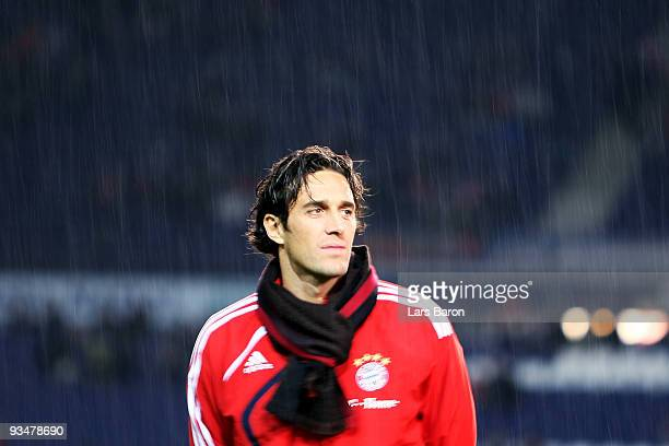 Luca Toni of Muenchen looks on prior to the Bundesliga match between Hannover 96 and FC Bayern Muenchen at AWDArena on November 29 2009 in Hanover...