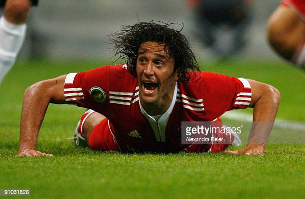 Luca Toni of Muenchen reacts during the DFB Cup second round match between FC Bayern Muenchen and RotWeiss Oberhausen at Allianz Arena on September...