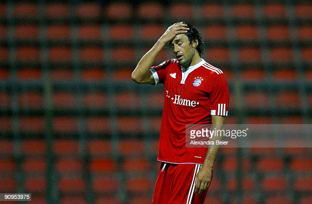 Luca Toni of Muenchen reacts during the Third Liga match between Bayern Muenchen II and SSV Jahn Regensburg at the Gruenwalder Stadium on September...