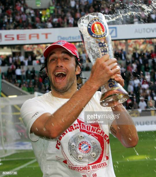 Luca Toni of Munich celebrates after the Bundesliga match between VfL Wolfsburg and Bayern Munich at the Volkswagen Arena on May 4, 2008 in...