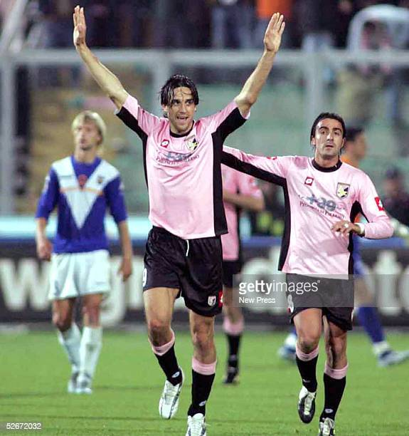 Luca Toni of Palermo celebrates a goal against Brescia during the Italian Serie A match April 20, 2005 in Palermo, Italy.