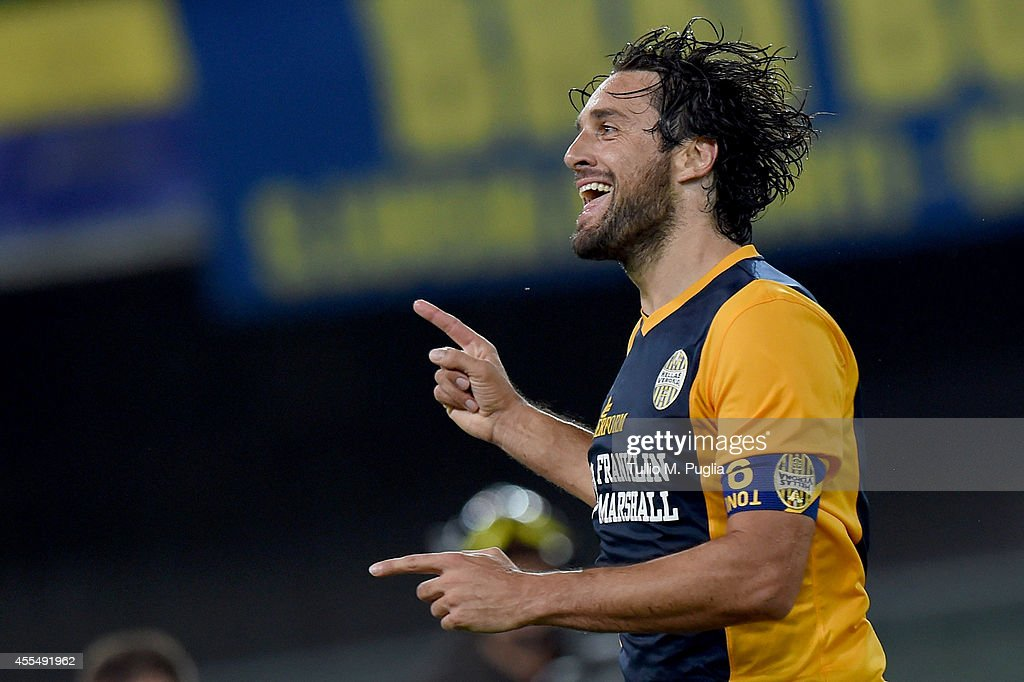 Luca Toni of Palermo celebrates after scoring the equalizing goal (1-1) during the Serie A match between Hellas Verona FC and US Citta di Palermo at Stadio Marc'Antonio Bentegodi on September 15, 2014 in Verona, Italy.