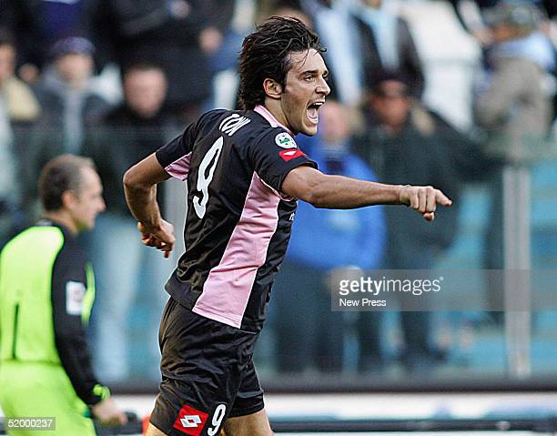 Luca Toni of Palermo celebrates scoring during the Italian Serie A match at Stadio Olimpico, January 16, 2005 in Rome, Italy.