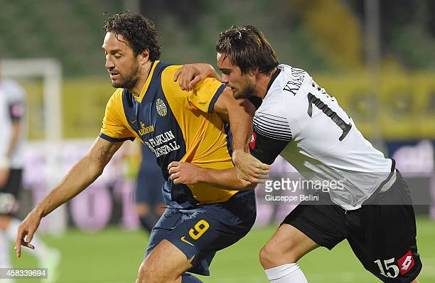 Luca Toni of Verona and Luka Krajnc of Cesena in action during the Serie A match between AC Cesena and Hellas Verona FC at Dino Manuzzi Stadium on...