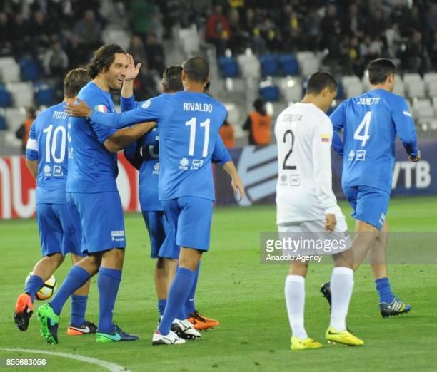 Luca Toni Rivaldo Francesco Totti Javier Zanetti of WORLD XI celebrate during the World Stars for Georgia Charity Match between GFF XI and WORLD XI...
