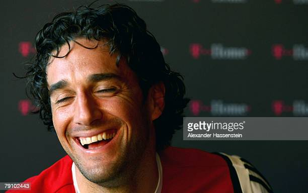 Luca Toni smiles during a press conference at the Bayern Munich training session on January 18 2008 in Marbella Spain