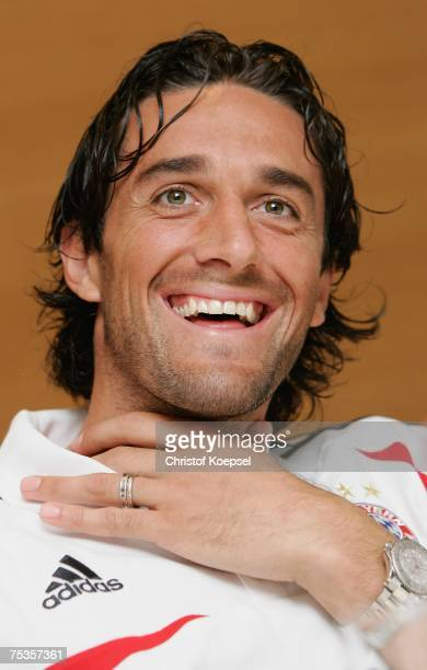 Luca Toni smiles during the press conference at the training camp of Bayern Munich on July 11 2007 in Donaueschingen Germany
