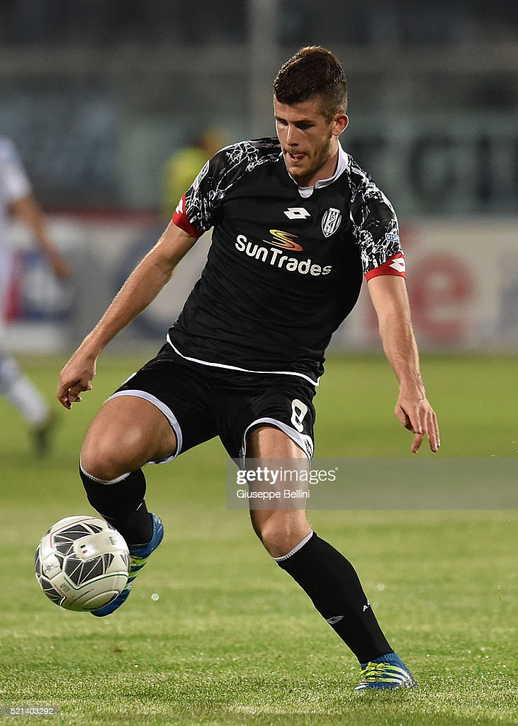 Luca Valzania of AC Cesena in action during the Serie B ...