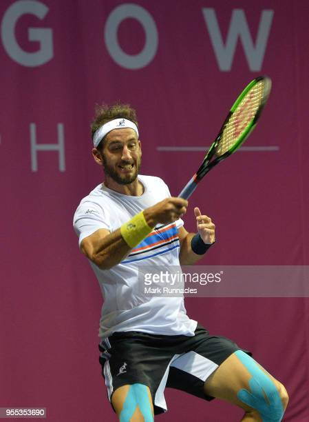 Luca Vanni of Italy in action as he takes on Lukas Lacko of Slovaki in the singles final of The Glasgow Trophy at Scotstoun Leisure Centre on May 6...