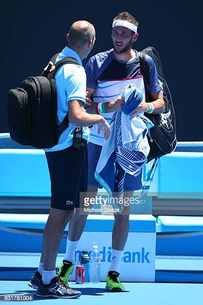 Luca Vanni of Italy seeks medical treatment in his first round match against Tomas Berdych of the Czech Republic on day one of the 2017 Australian...
