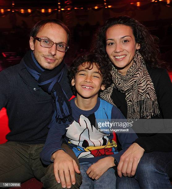 Luca Verhoeven and his wife Stephanie and son Patrice attend the Circus Krone Christmas Show at the Circus Krone on December 25 2011 in Munich Germany