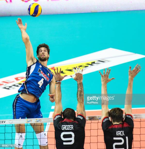 Luca Vettori Gyorgy Grozer Tobias Krick during Volleyball European Championships match between Italy and Germany on 25 August 2017 in Szczecin Poland