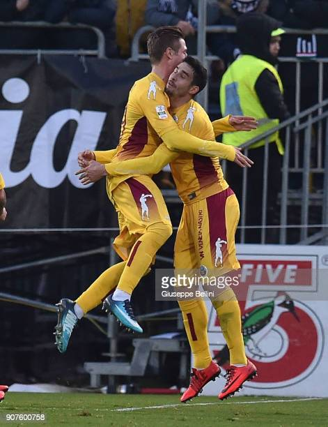 Luca Vido of AS Cittadella 1973 celebrates after scoring goal 12 during the serie B match between Ascoli Picchio and AS Cittadella at Stadio Cino e...