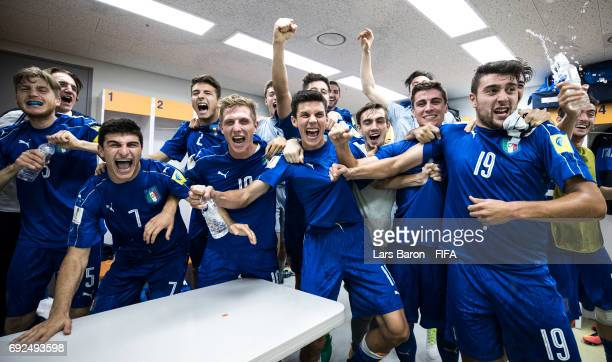 Luca Vido of Italy and his team mates celebrate in the dressing room after winning the FIFA U-20 World Cup Korea Republic 2017 Quarter Final match...