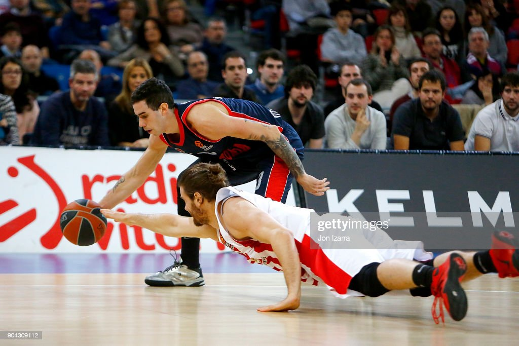 Luca Vildoza, #3 of Baskonia Vitoria Gasteiz in action during the 2017/2018 Turkish Airlines EuroLeague Regular Season Round 17 game between Baskonia Vitoria Gasteiz and Olympiacos Piraeus at Fernando Buesa Arena on January 12, 2018 in Vitoria-Gasteiz, Spain.