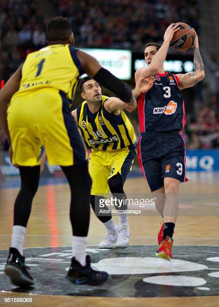 Luca Vildoza #3 of Kirolbet Baskonia Vitoria Gasteiz competes with Kostas Sloukas #16 of Fenerbahce Dogus Istanbul during the Turkish Airlines...