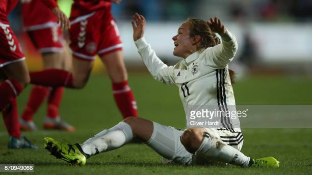 Luca von Achten of Germany gesticulated during the U16 Girls international friendly match betwwen Denmark and Germany at the Skive Stadion on...