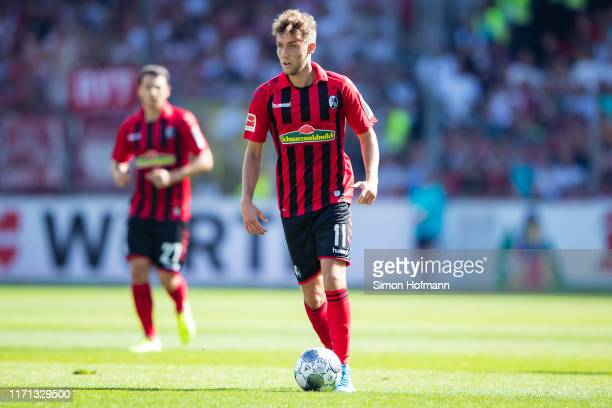 Luca Waldschmidt of Freiburg controls the ball during the Bundesliga match between SportClub Freiburg and 1 FC Koeln at SchwarzwaldStadion on August...