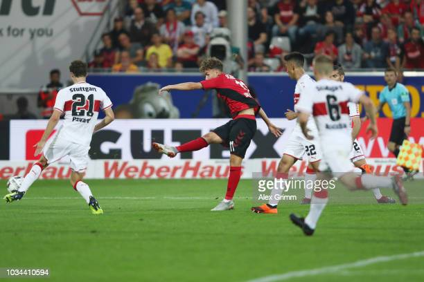 Luca Waldschmidt of Freiburg scores his team's third goal during the Bundesliga match between SportClub Freiburg and VfB Stuttgart at...