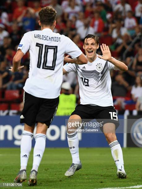 Luca Waldschmidt of Germany celebrates after scoring his team second goal during the 2019 UEFA U21 Group B match between Germany and Serbia at Stadio...