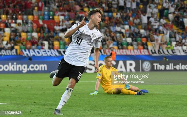 Luca Waldschmidt of Germany celebrates after scoring his team's third goal during the 2019 UEFA U21 Group B match between Germany and Denmark at...