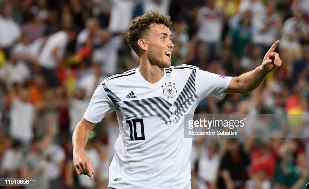 Luca Waldschmidt of Germany celebrates after scoring the 5-0 goal during the 2019 UEFA U-21 Group B match between Germany and Serbia at Stadio Nereo...