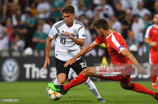 Luca Waldschmidt of Germany in action during the 2019 UEFA U21 Group B match between Germany and Serbia at Stadio Nereo Rocco on June 20 2019 in...
