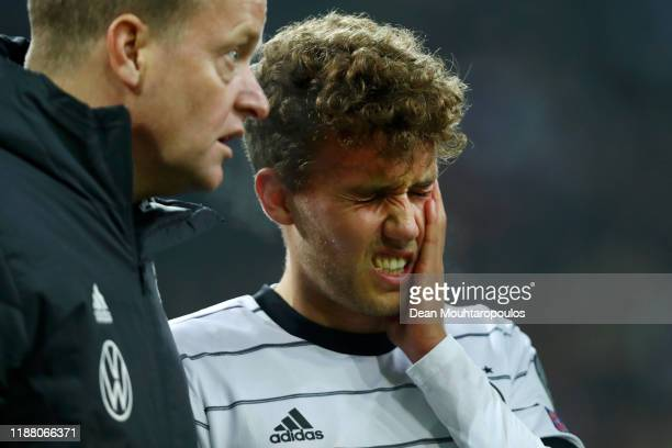 Luca Waldschmidt of Germany reacts after a collision during the UEFA Euro 2020 Group C Qualifier match between Germany and Belarus on November 16...