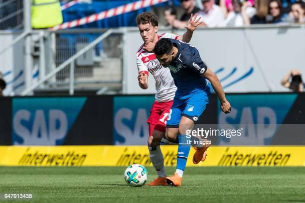 Luca Waldschmidt of Hamburg and Nadiem Amiri of Hoffenheim battle for the ball during the Bundesliga match between TSG 1899 Hoffenheim and Hamburger...