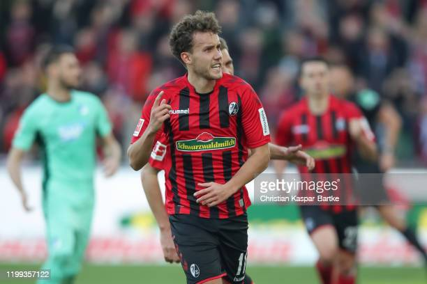 Luca Waldschmidt of SC Freiburg celebrates after scoring his team`s first goal during the Bundesliga match between SportClub Freiburg and TSG 1899...