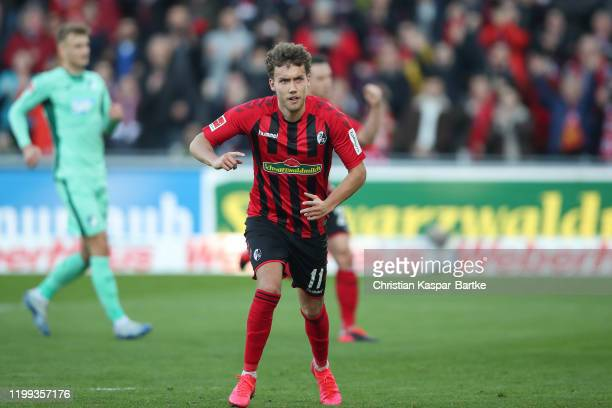 Luca Waldschmidt of SC Freiburg celebrates after scoring his team`s first goal during the Bundesliga match between Sport-Club Freiburg and TSG 1899...