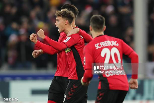 Luca Waldschmidt of SC Freiburg celebrates with teammates his team`s second goal during the Bundesliga match between SportClub Freiburg and RB...