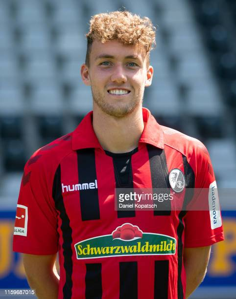 Luca Waldschmidt of SC Freiburg poses during the team presentation at SchwarzwaldStadion on August 4 2019 in Freiburg im Breisgau Germany