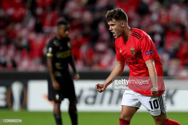 Luca Waldschmidt of SL Benfica celebrates after scoring a goal during the UEFA Europa League Group D football match between SL Benfica and Royal...