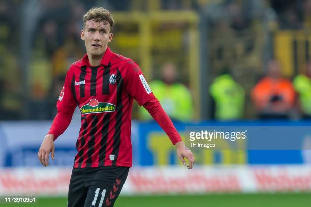 Luca Waldschmidt of SportClub Freiburg looks on during the Bundesliga match between SportClub Freiburg and Borussia Dortmund at SchwarzwaldStadion on...